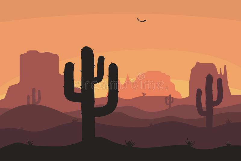Cactuse and mountains silhouettes, desert landscape. Nature background in sunset with sand hills. Vector. stock illustration