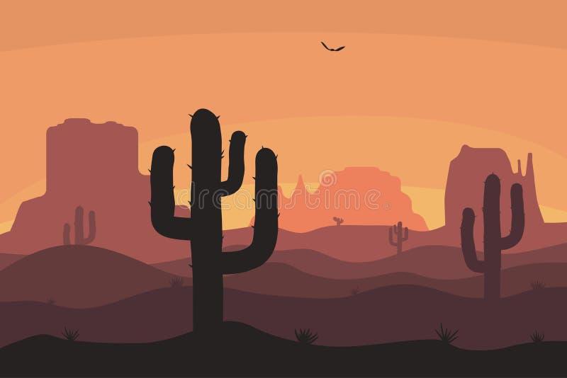 Cactuse und Gebirgsschattenbilder, Wüstenlandschaft Naturhintergrund im Sonnenuntergang mit Sandhügeln Vektor stock abbildung