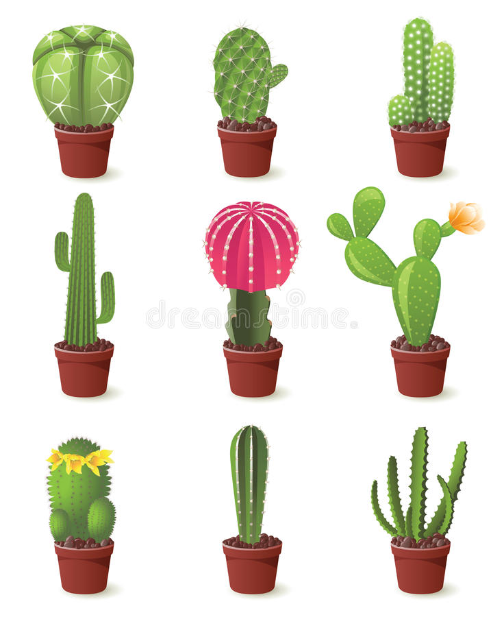 Cactuses icons. 9 cactuses icons set illustration royalty free illustration