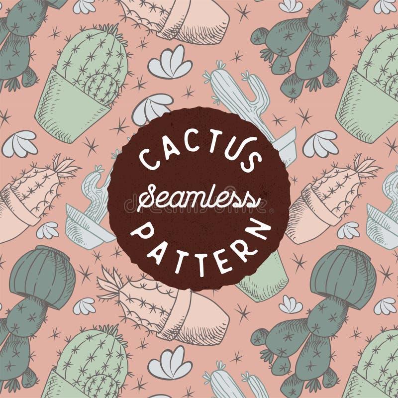 Cactushand die Naadloos patroon trekken royalty-vrije stock foto's