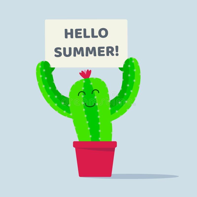 Cactusinstallatie in de pot met hello het ontwerp vectorillustratie van de de zomer vlakke stijl die op witte achtergrond wordt g royalty-vrije illustratie
