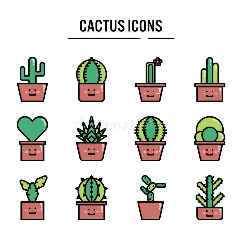 Cactuspictogram in gevuld overzichtsontwerp voor infographic Webontwerp, presentatie, mobiele toepassing - Vectorillustratie royalty-vrije illustratie