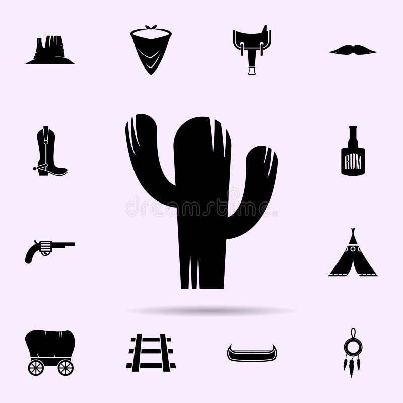 Cactuspictogram het wilde voor Web wordt geplaatst en mobiele algemene begrip van het westen materi?le die pictogrammen stock illustratie