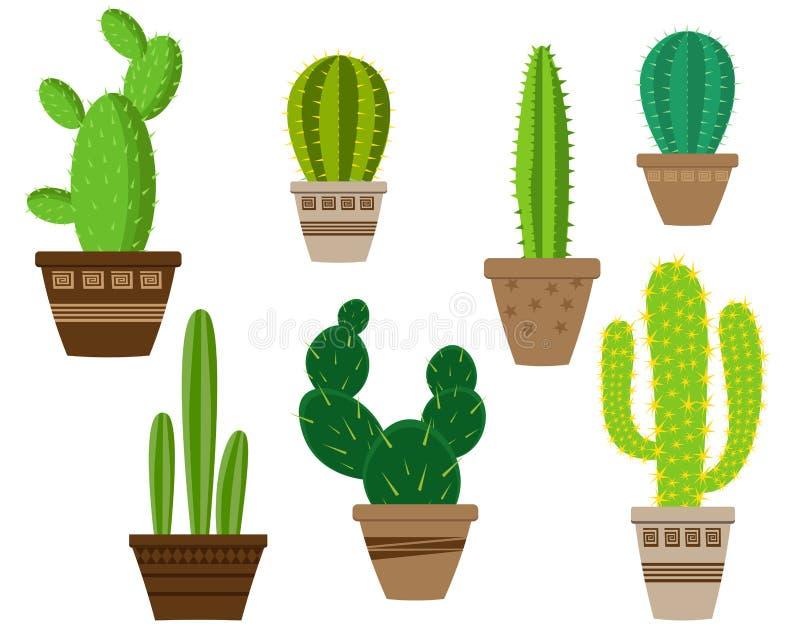 Cactuspictogrammen in een vlakke stijl op een witte achtergrond royalty-vrije illustratie