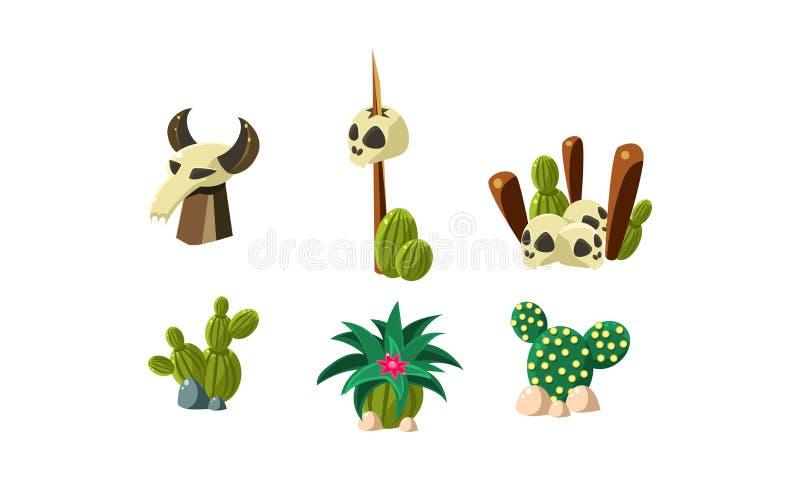 Cactussen, mens en geplaatste buffelsschedels, ontwerpelementen van woestijnlandschap, wilde het westenobjecten vectorillustratie royalty-vrije illustratie