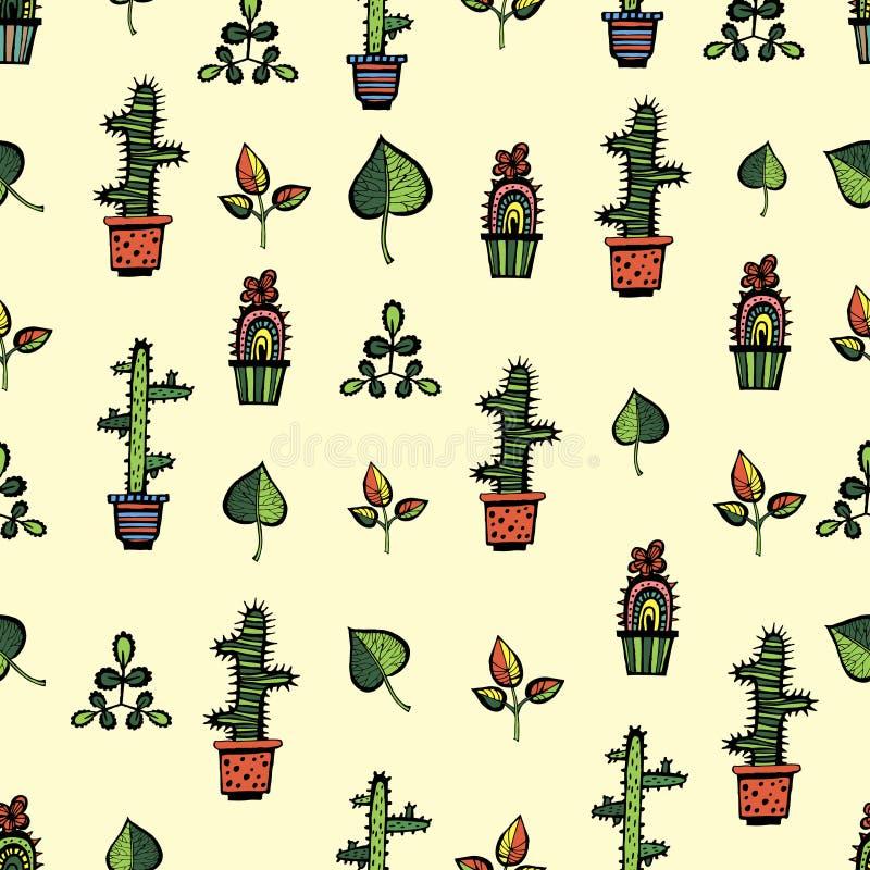 Cactussenpatroon met bladeren stock illustratie