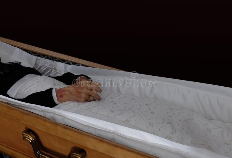 Cadáver en el ataúd imagen de archivo libre de regalías