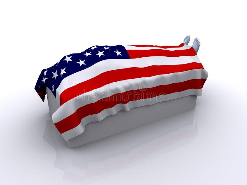 Cadáver sob a bandeira dos EUA ilustração stock