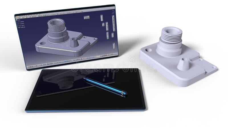 CAD工程师运转的书桌 皇族释放例证