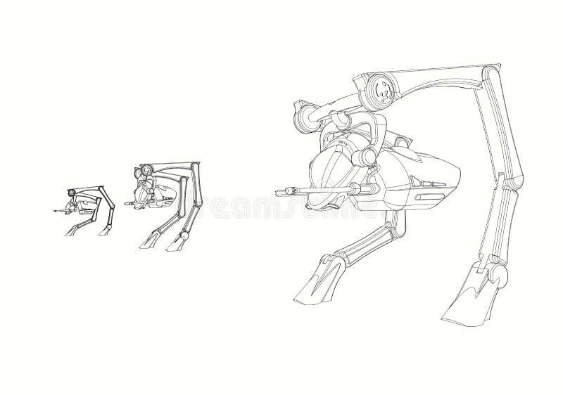 CAD设计- 3个步行者车原始的设计线描在3D CAD生产了 库存例证