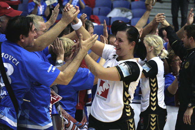 CAD d'Aalborg - RK Krim Mercator (champions d'EHF photo stock