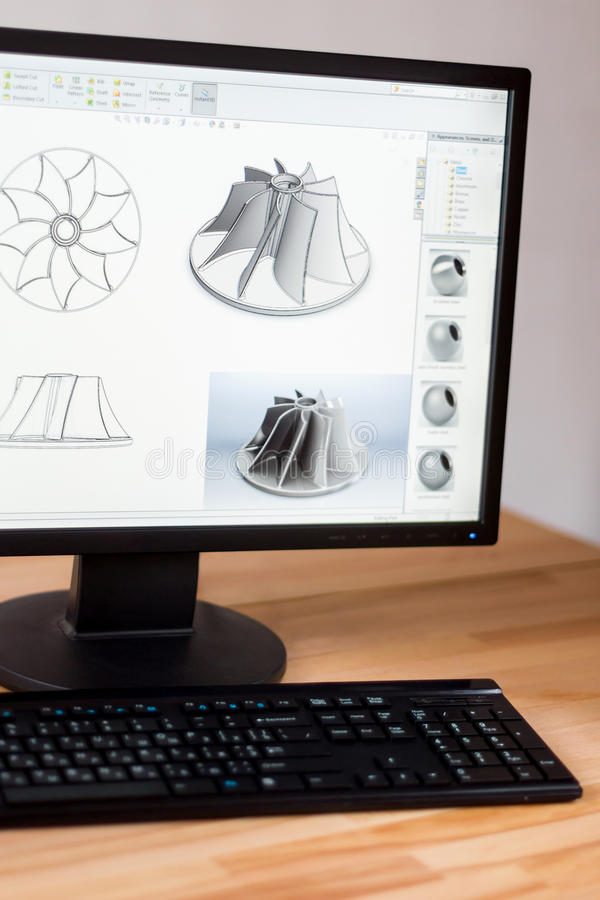 Cad engineer workstation. Workstation of cad engineer which displays 3d model of mechanical part for heavy industry stock photos