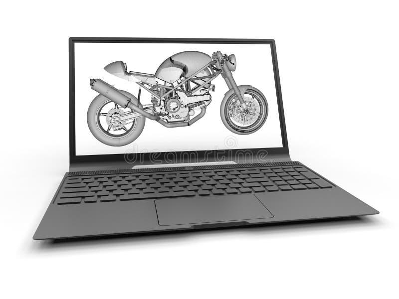 CAD - protótipo da motocicleta do portátil ilustração do vetor