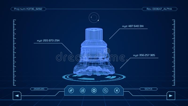 Cad software interface. Futuristic interface of a cad software 3d render stock illustration