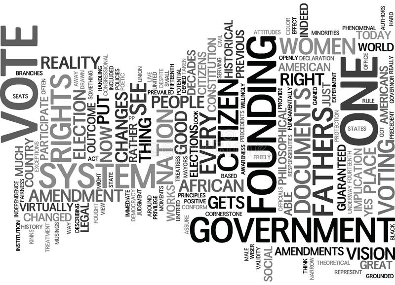 Cada cidadão obtém um conceito da nuvem da palavra do fundo do texto do voto ilustração stock
