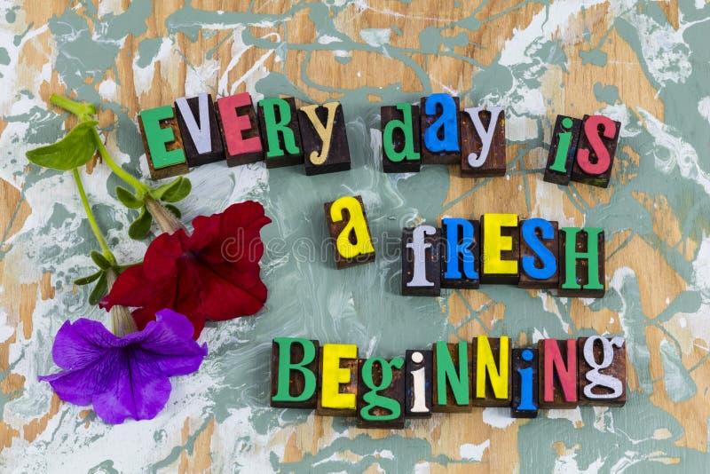 Cada comienzo fresco del principio del día nuevo imagen de archivo