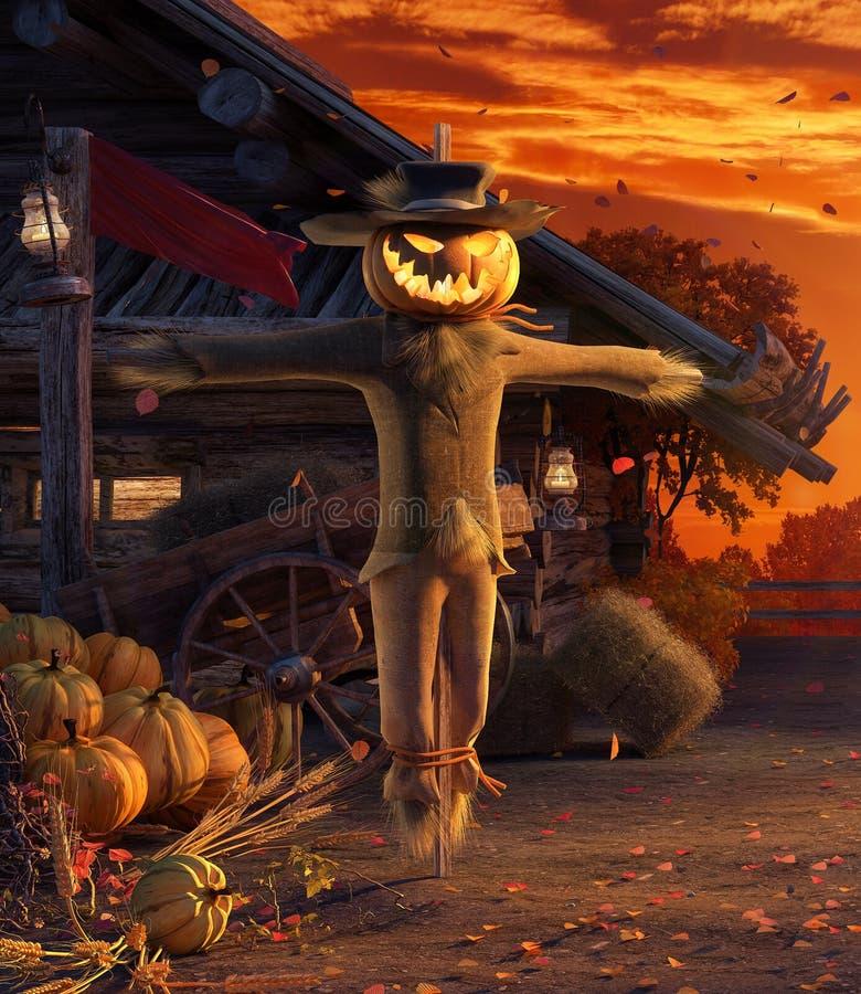 Cada in cortile con le foglie che cadono dallo spaventapasseri della zucca di Halloween e degli alberi, fondo di autunno immagini stock libere da diritti