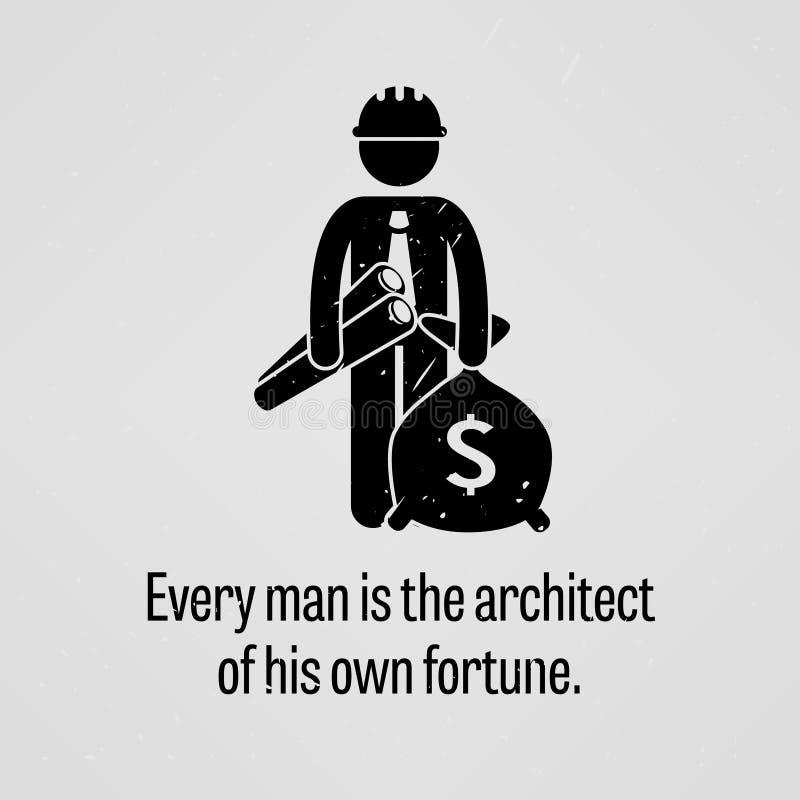 Cada homem é o arquiteto de sua própria fortuna ilustração do vetor