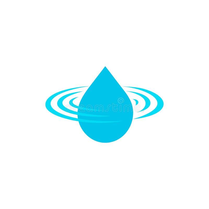 Cada il logo, il segno dell'acqua pulita, l'icona blu di vettore della gocciolina, simbolo di progettazione dell'acqua su fondo b illustrazione di stock
