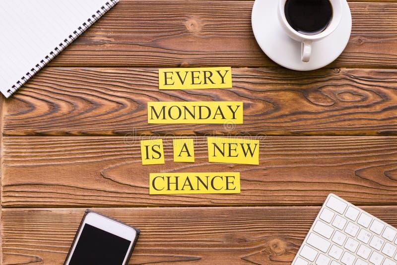 Cada lunes es una nueva ocasión imagen de archivo libre de regalías