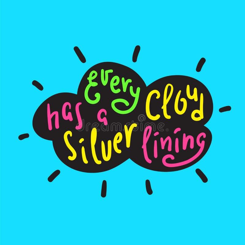 Cada nuvem tem uma fresta de esperança - engraçada inspire e citações inspiradores ilustração stock
