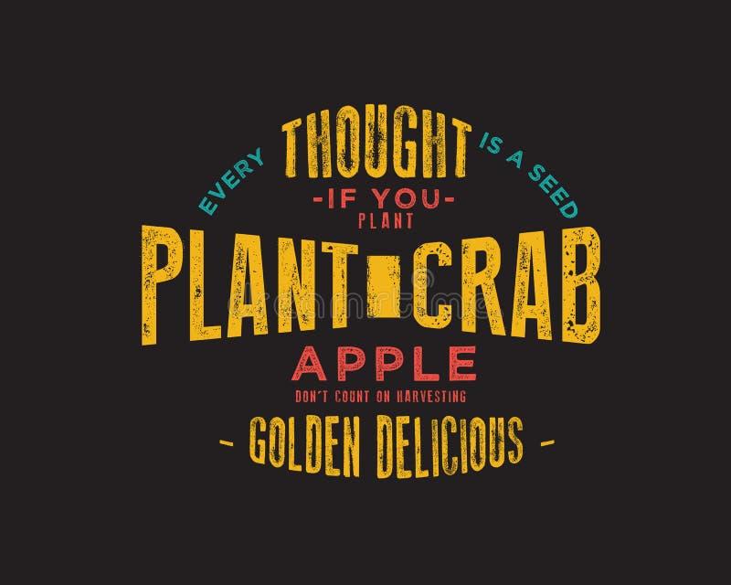 Cada pensamento é uma semente Se você planta as maçãs de caranguejo não contam na colheita dourada - delicioso ilustração do vetor