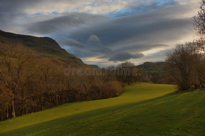 Cadair idris mountain range in snowdonia under a moody sky royalty free stock photos