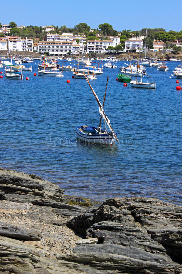 Cadaques Bay. Pleasure boats in a cove of the Bay of Cadaques in Catalonia, Spain royalty free stock photos
