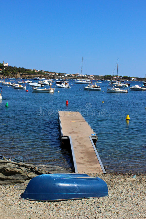 Cadaques Bay. Pleasure boats in a cove of the Bay of Cadaques in Catalonia, Spain stock photo