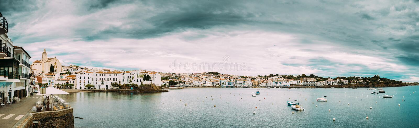 Cadaques, Province Of Girona, Catalonia, Spain. Panoramic View Cityscape royalty free stock image