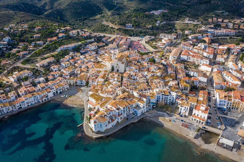 CAdaques Spain. Dali city. aerial top view from above. picturesque linen houses, tiled roofs and a church on the royalty free stock photography