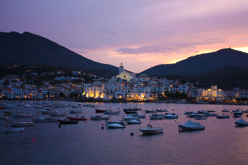 Cadaques sunset. Romanticism in Mediterranean Sea royalty free stock photo