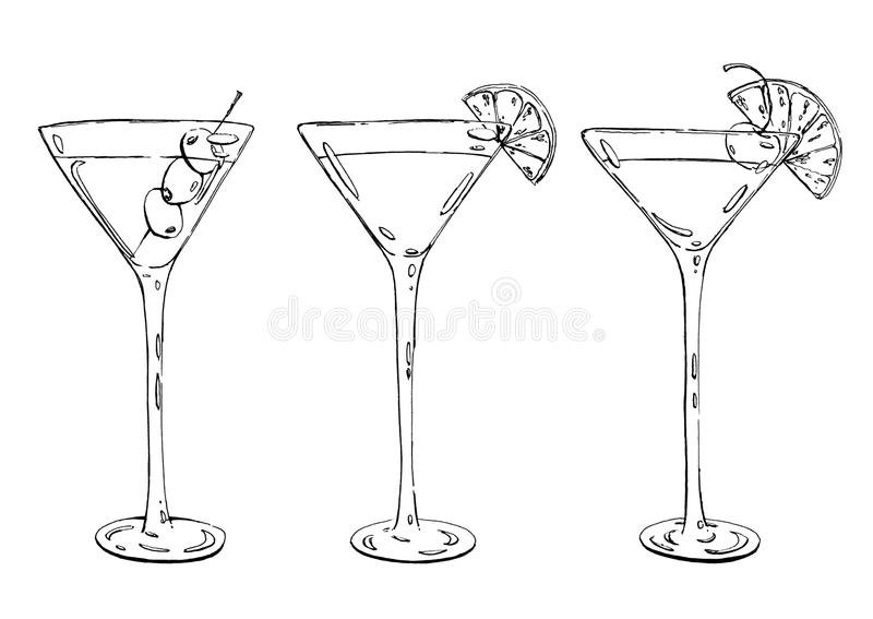 Cadavere acido grafico disegnato a mano del sidecar del whiskey di Martini del cocktail royalty illustrazione gratis