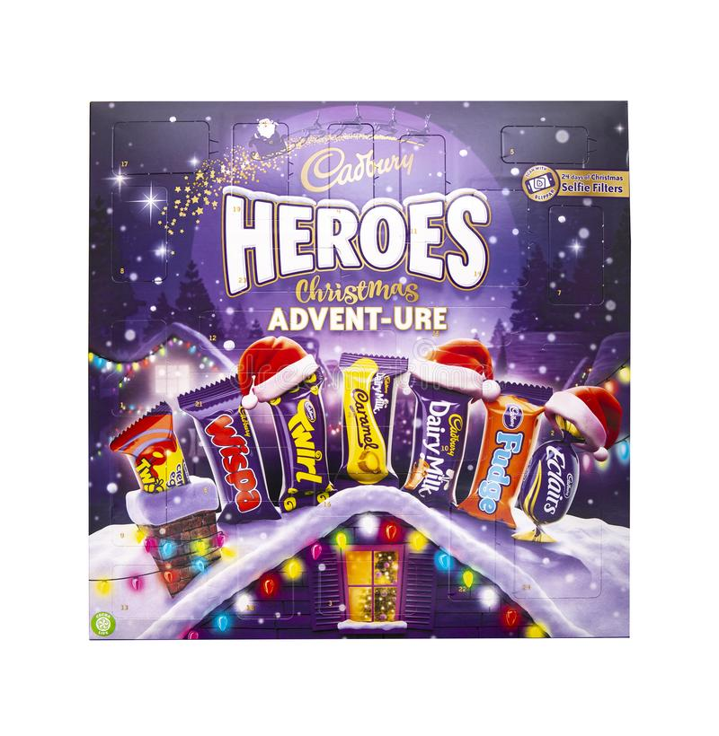 Cadburys bohaterów adwentu adwentu Bożenarodzeniowy kalendarz na białym tle zdjęcia stock