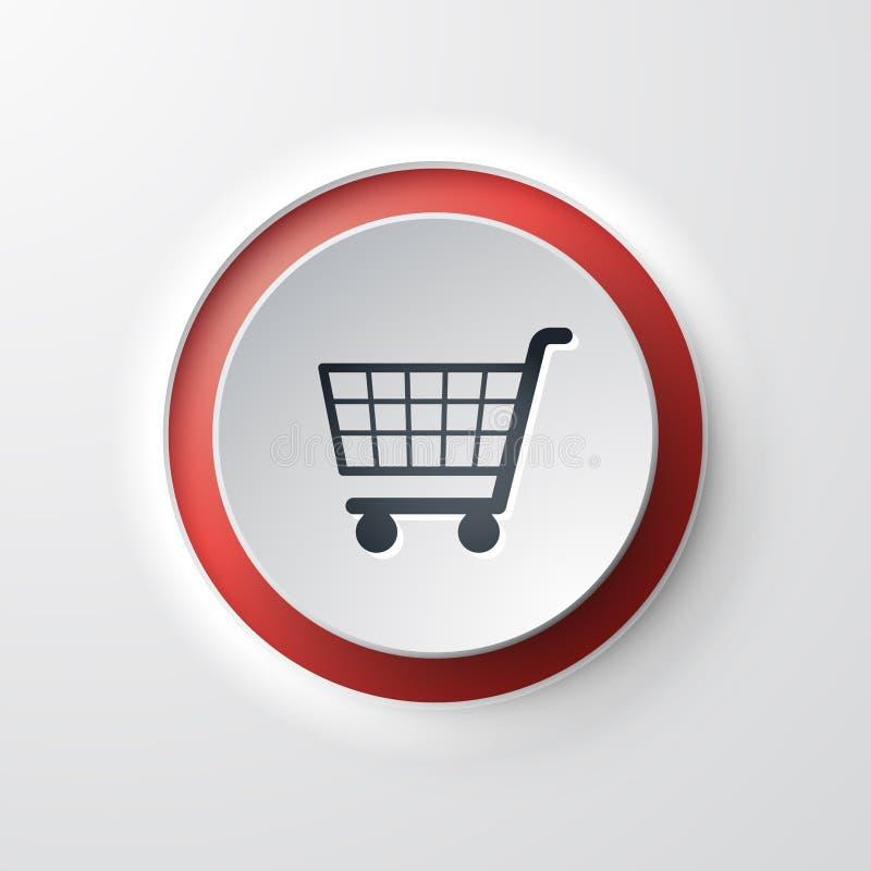 Caddie à bouton-poussoir d'icône de Web illustration libre de droits