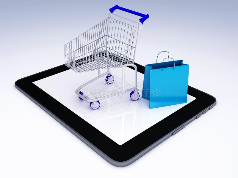 Caddie au-dessus de tablette Concept de commerce électronique illustration libre de droits