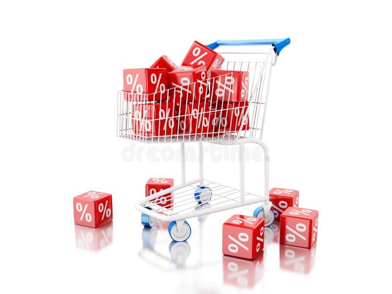 caddie 3d avec des cubes en remise illustration de vecteur