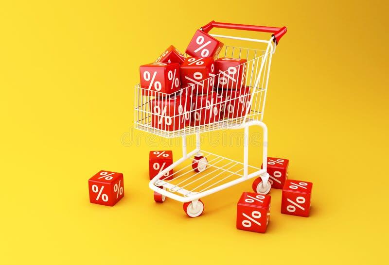 caddie 3d avec des cubes en remise illustration libre de droits