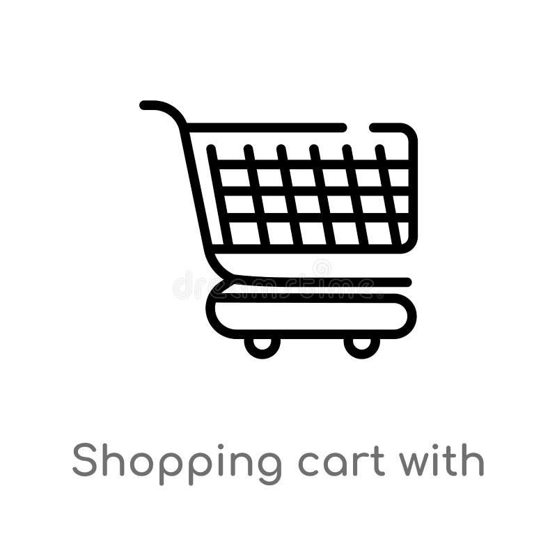caddie d'ensemble avec l'icône de vecteur de grils ligne simple noire d'isolement illustration d'élément de concept de commerce e illustration stock