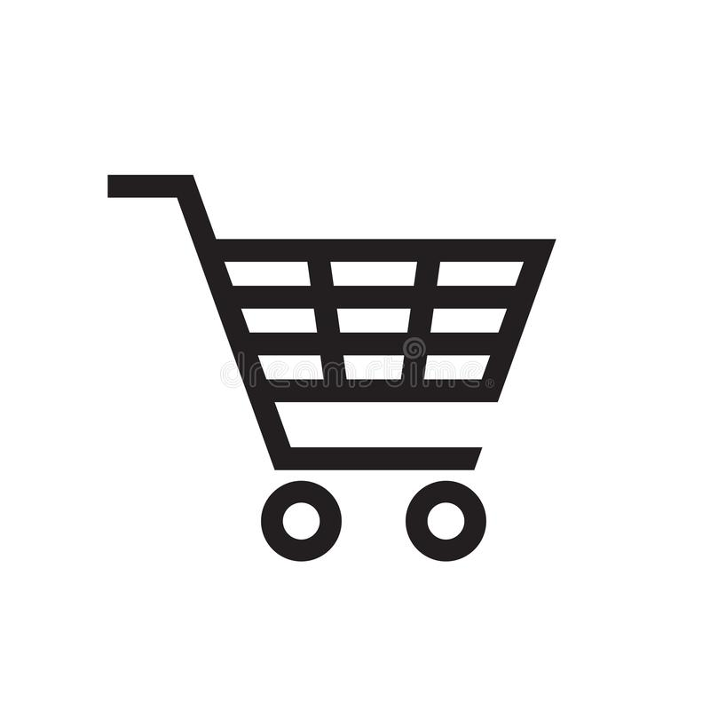 Caddie - icône noire sur l'illustration blanche de vecteur de fond pour le site Web, application mobile, présentation, infographi illustration libre de droits