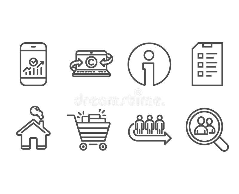 Caddie, icônes de liste de contrôle et de file d'attente illustration libre de droits
