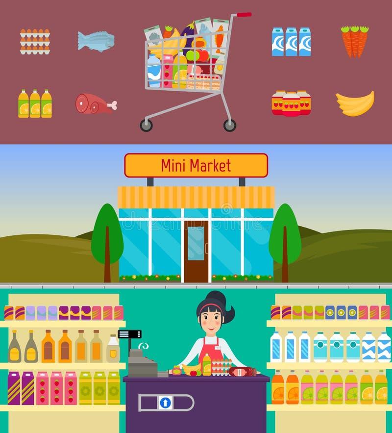 Caddie, mini marché et caissier illustration libre de droits