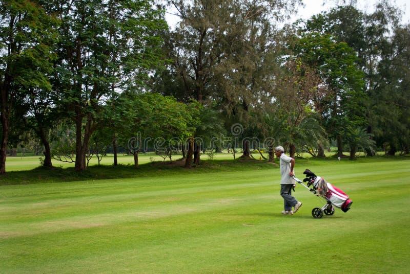 Caddie przewożenia golfisty klub obrazy royalty free