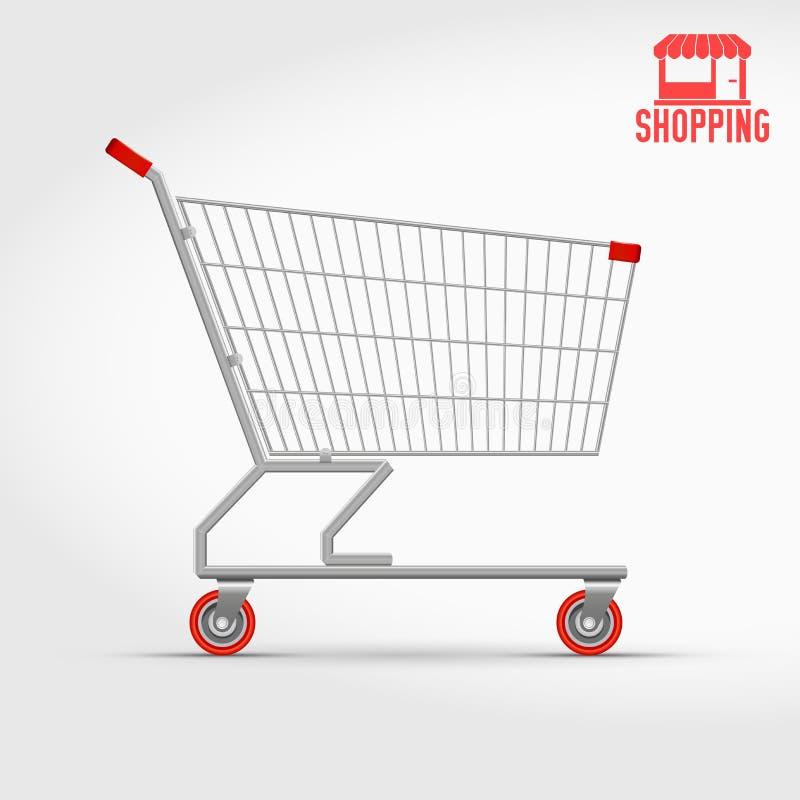 Caddie vide de supermarché d'isolement sur la vue de côté blanche et illustration libre de droits