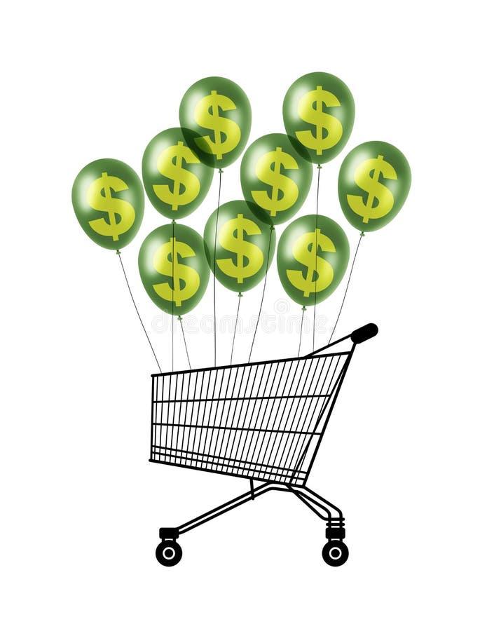 Caddy που πετά στα μπαλόνια δολαρίων διανυσματική απεικόνιση