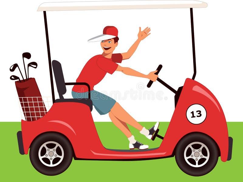 Caddy σε ένα κάρρο γκολφ ελεύθερη απεικόνιση δικαιώματος