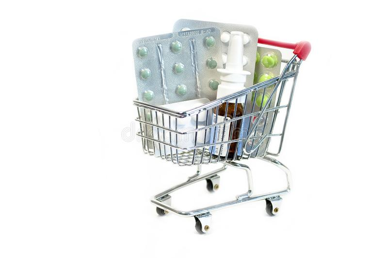 Caddy with pills. On white background online pharmacy stock image