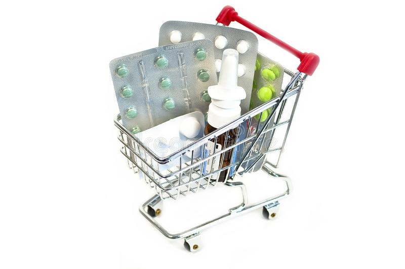 Caddy with pills. On white background online pharmacy royalty free stock photos