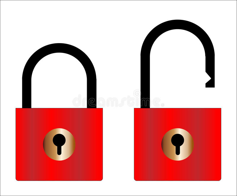 Cadeado aberto e fechado ilustração stock