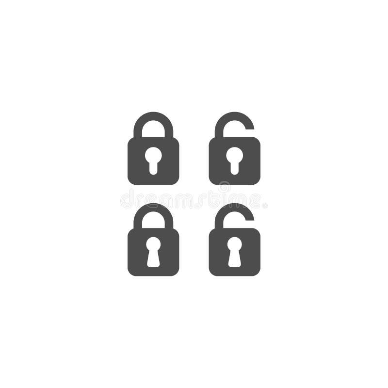 Cadeado aberto e grupo simples fechado do ícone do vetor ilustração stock